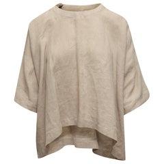 Eskandar Beige Linen Short Sleeve Top