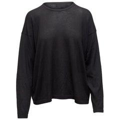 Eskandar Black Cashmere Crew Neck Sweater
