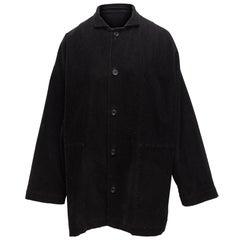 Eskandar Black Corduroy Button-Up Coat