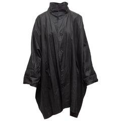 Eskandar Black Lightweight Linen-Blend Coat