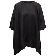 Eskandar Black Linen Oversized Top