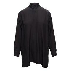 Eskandar Black Silk Button-Up Top