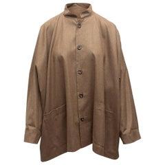 Eskandar Brown Wool Cropped Jacket