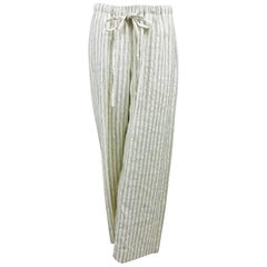 Eskandar Cream Linen Woven Stripe Drawstring Waist Trouser New
