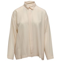 Eskandar Cream Silk Button-Up Blouse