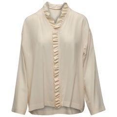 Eskandar Cream Silk Ruffled Blouse