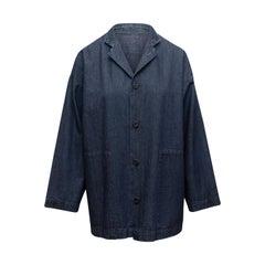 Eskandar Dark Blue Denim Chore Coat
