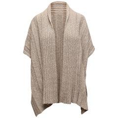 Eskandar Grey Linen-Blend Short Sleeve Cardigan