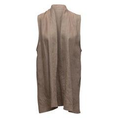 Eskandar Grey Linen Longline Vest