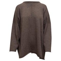 Eskandar Grey Merino Wool Oversize Sweater