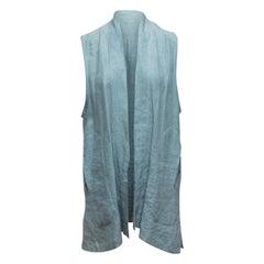 Eskandar Light Blue Linen Longline Vest