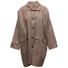Eskandar Light Brown Linen Coat