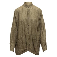 Eskandar Olive Green Linen Button-Up Top