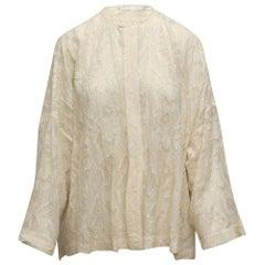 Eskandar White Floral Patterned Button-Up Top