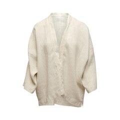 Eskandar White & Grey Linen-Blend Open Front Jacket