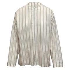 Eskandar White & Grey Striped Button-Up Top