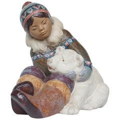 'Inuit Girl Playing' Pottery Figurine by Lladró
