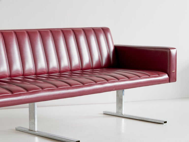 Steel Esko Pajamies Three-Seat Cantilevered Sofa, Merva, Finland, 1960s For Sale