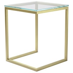 Esopo Brass and Glass Side Table by Antonio Saporito