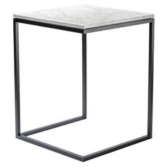 Esopo Iron and Carrara Marble Side Table by Antonio Saporito