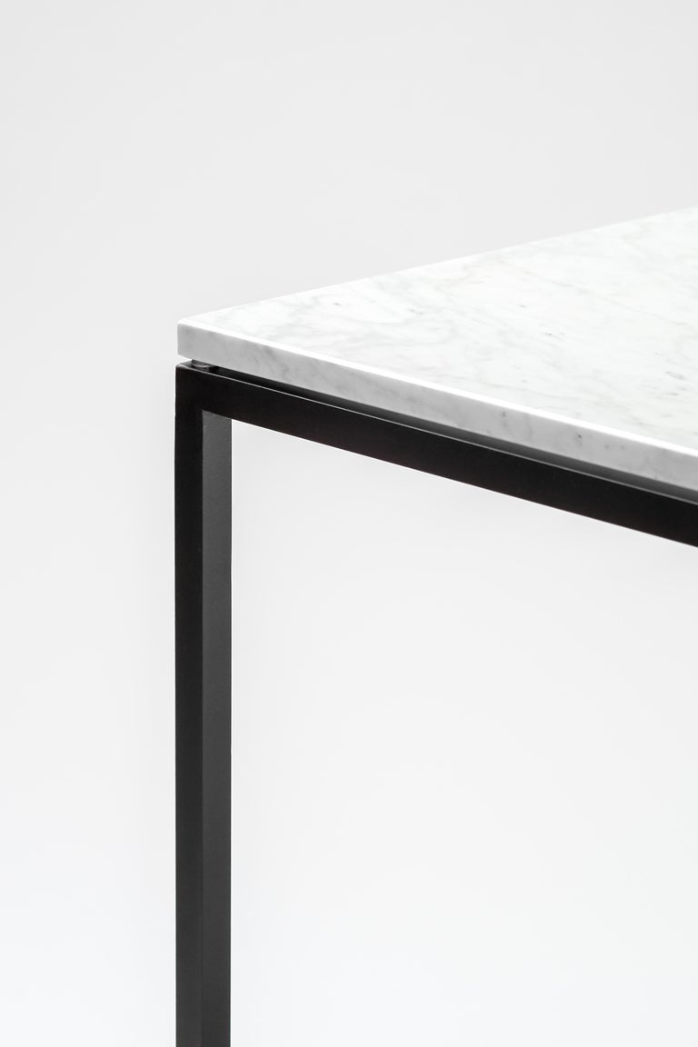 """Italian """"ESOPO"""" Modern Handmade Iron Side Table with White Carrara Marble Square Top For Sale"""
