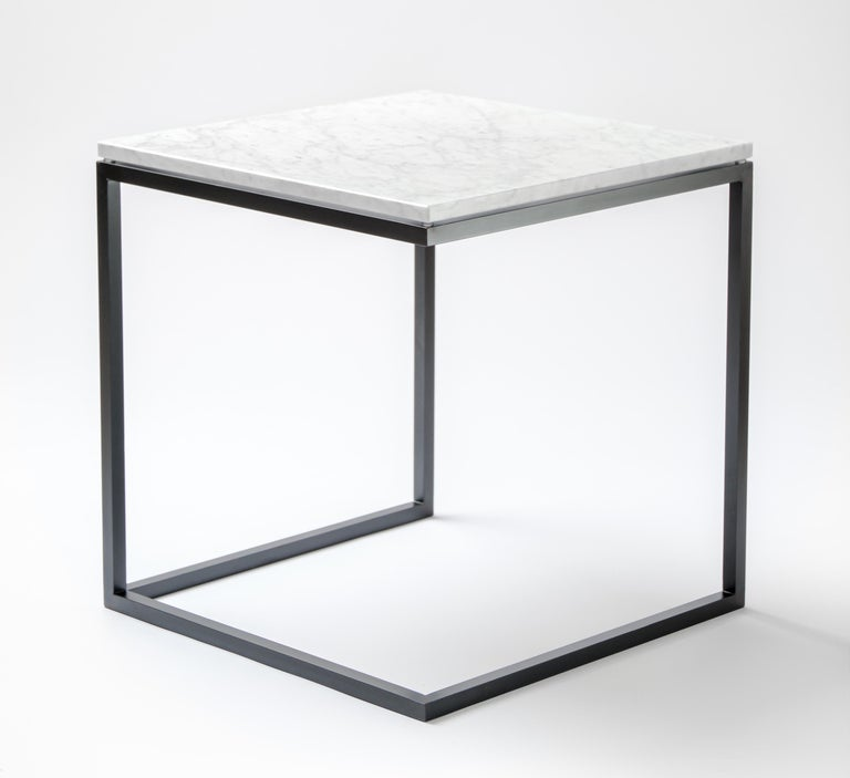"""Polished """"ESOPO"""" Modern Handmade Iron Side Table with White Carrara Marble Square Top For Sale"""