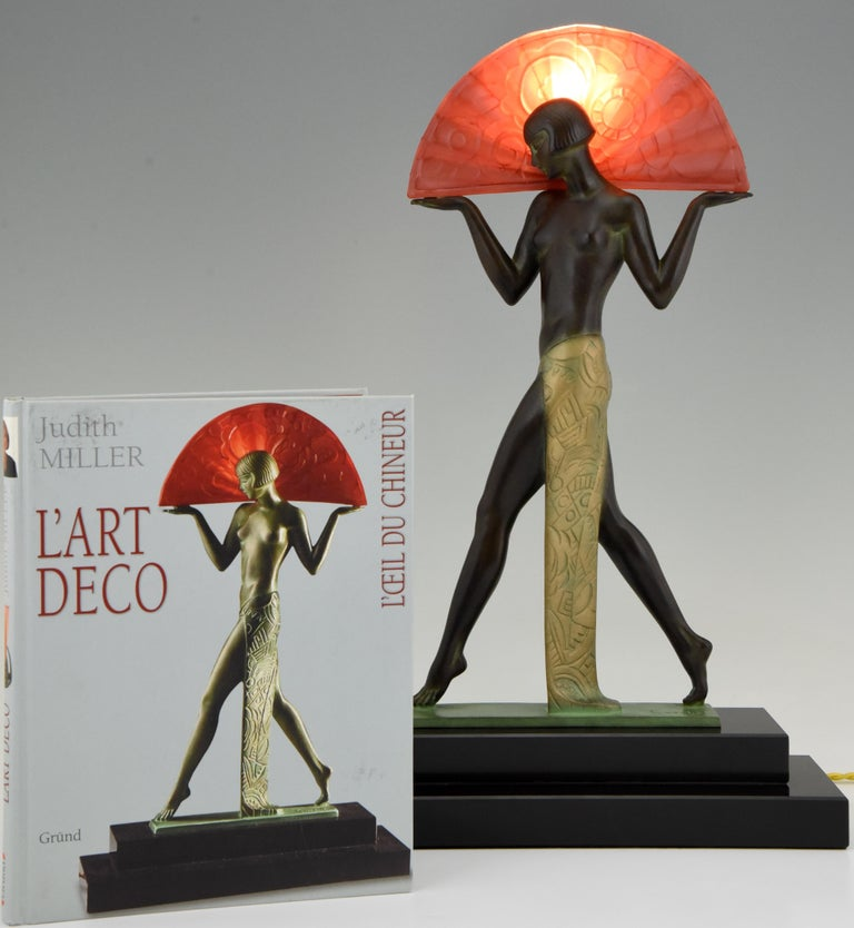 French Espana Art Deco Style Lamp Spanish Dancer with Fan by Guerbe for Max Le Verrier For Sale