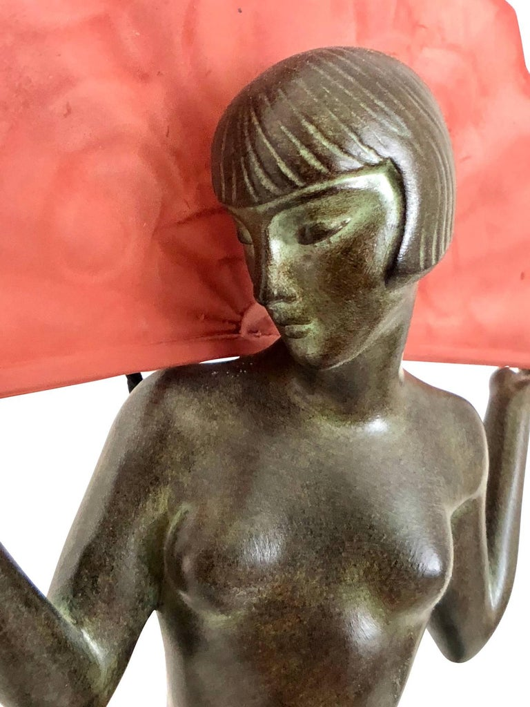 Art Deco Espana Sculpture Spanish Dancer Lamp by Raymonde Guerbe for Max Le Verrier For Sale