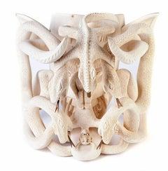 Mascara de diablo al natural  Wood carving Sculpture Mexican Folk Art