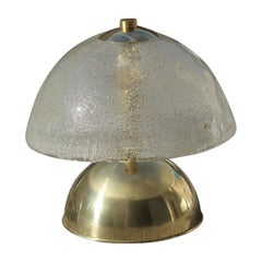 Esperia Table Lamp Round Glass Brass Gold 1970 Italian Design