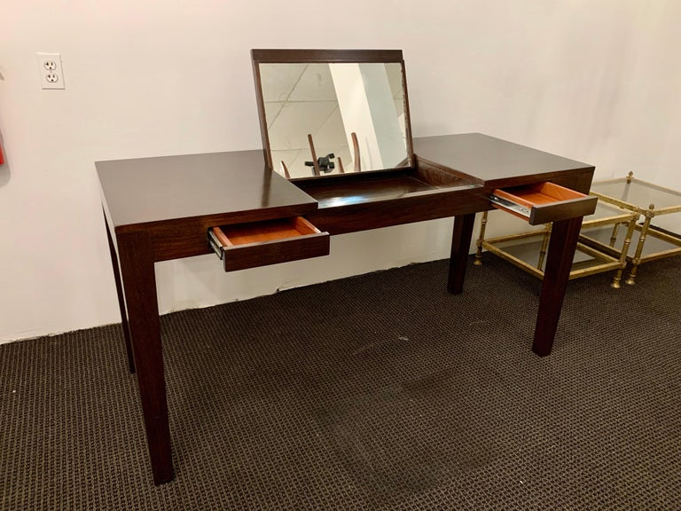 Espresso Finish Art Deco Style Vanity/ Writing Desk For Sale 4