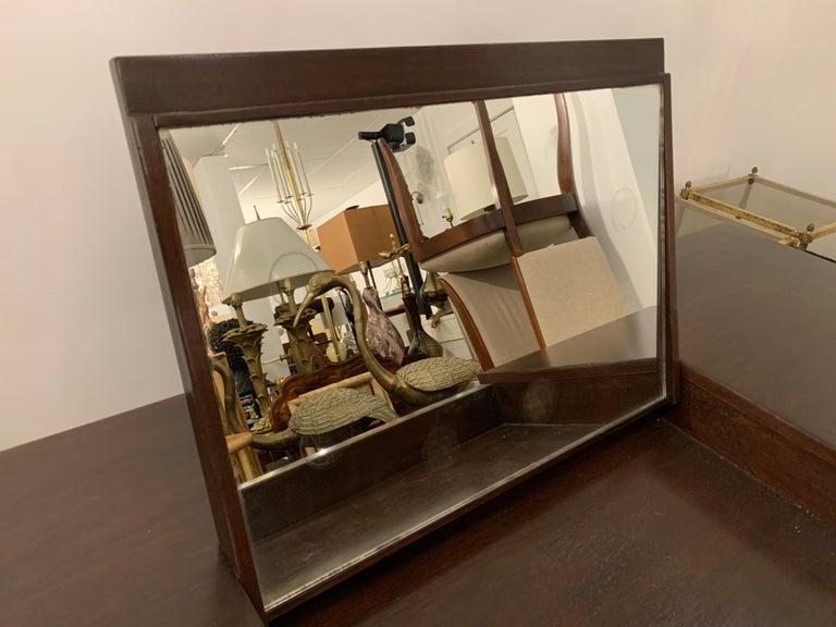Wood Espresso Finish Art Deco Style Vanity/ Writing Desk For Sale
