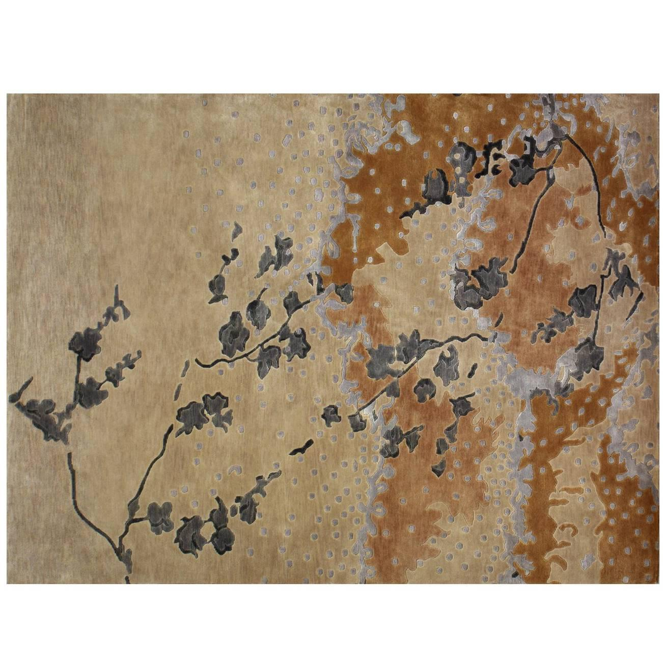 """Espuma"" Contemporary Art Rug in Wool and Silk"
