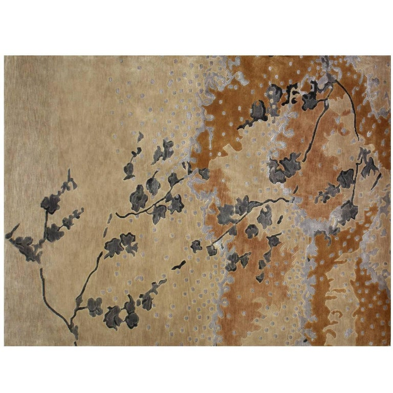 """Espuma"" Contemporary Art Rug in Wool and Silk  For Sale"
