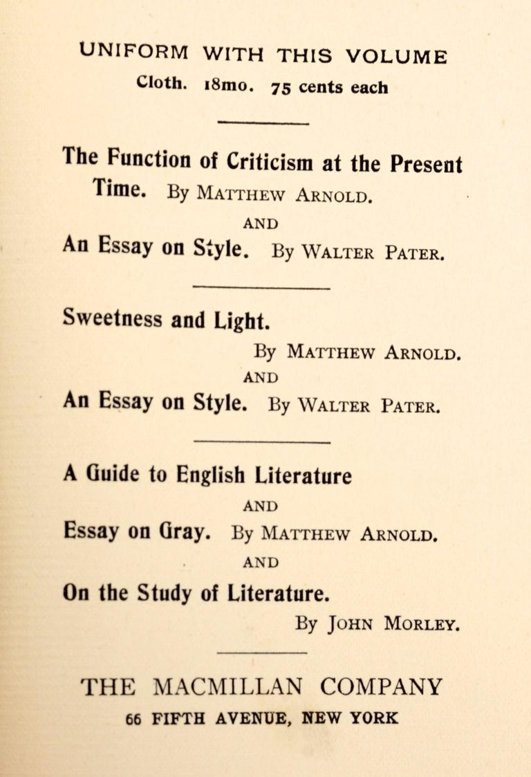Essays on the Study of Poetry & a Guide to English Literature by Matthew Arnold In Good Condition For Sale In valatie, NY