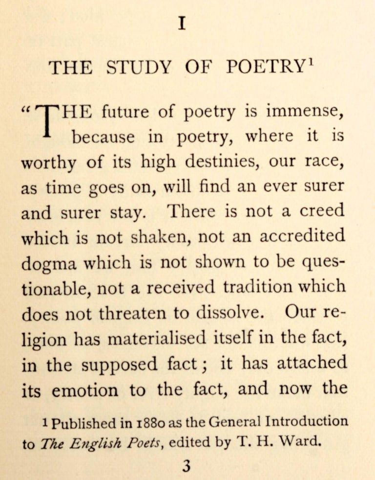 Early 20th Century Essays on the Study of Poetry & a Guide to English Literature by Matthew Arnold For Sale