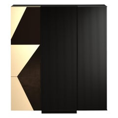 Essence High Cabinet Glossy Graphic Lacquered Wood
