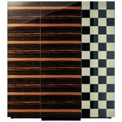Essence High Cabinet in Glossy Lacquered Ebony Wood with Damier Door