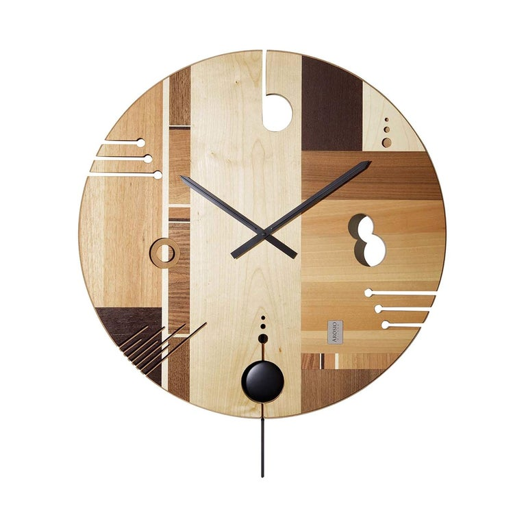 Essential Maple Clock by Arosio Milano For Sale