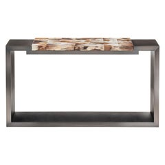 Essenziale Console Table with Matte Horn Top and Dark Brown Leather, Mod. 6020