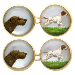 Essex Crystal and 18 Karat Yellow Gold Dog Cufflinks, Antique Victorian