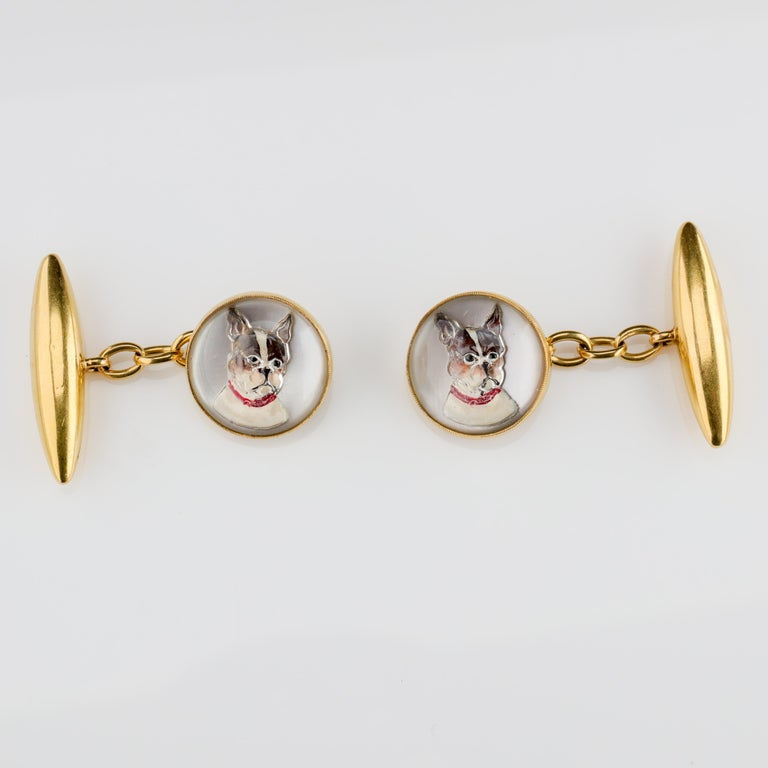 Cufflinks English Victorian Essex Crystal  In Excellent Condition For Sale In Southbury, CT