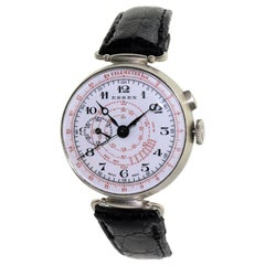 Essex Nickel Silver One Button Chronograph Original Enamel Dial Watch