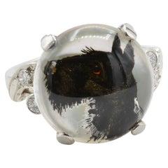 Essex Reverse Intaglio Black Scottie Set in Platinum and Diamonds Ring