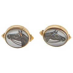 Essex Silver 14 Karat Yellow Gold Equestrian Reverse Head Cufflinks
