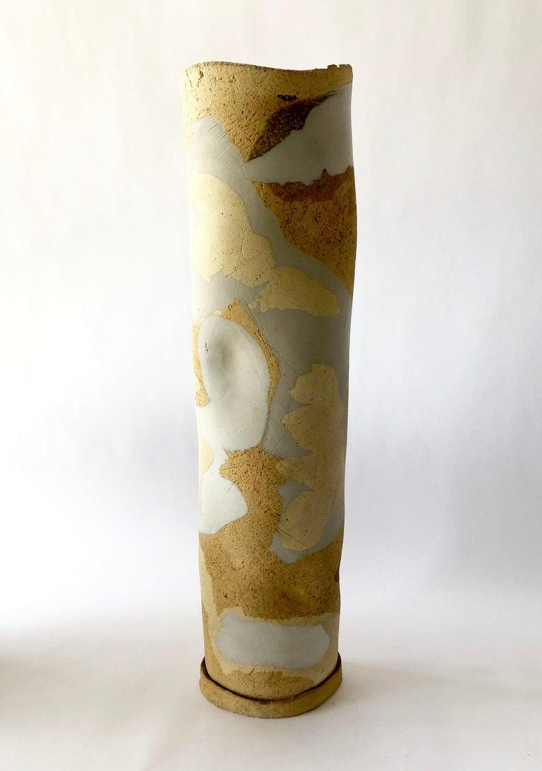 American Esta James Camouflage Stoneware California Studio Pottery Vase For Sale
