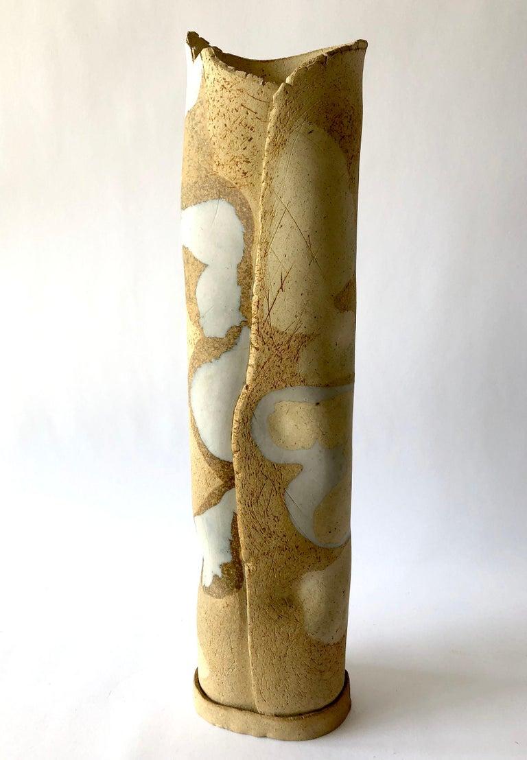 Late 20th Century Esta James Camouflage Stoneware California Studio Pottery Vase For Sale