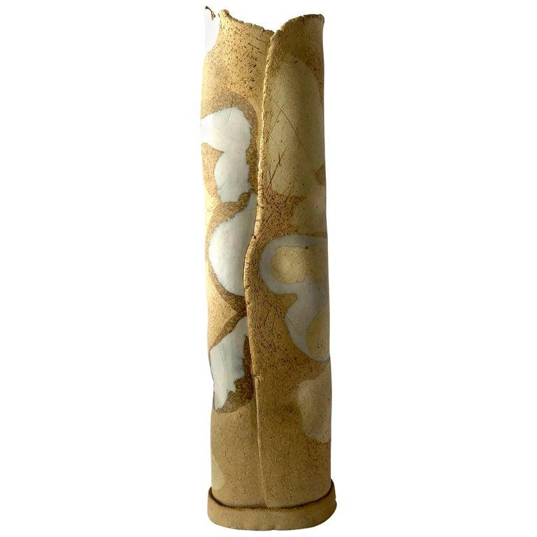 Esta James Camouflage Stoneware California Studio Pottery Vase For Sale