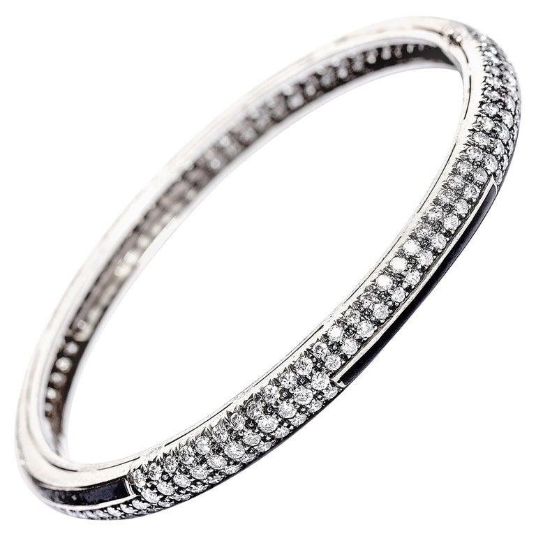 Art Deco Style Yin Yang Black Enamel Diamond Bracelet in 18 Karat Gold For Sale