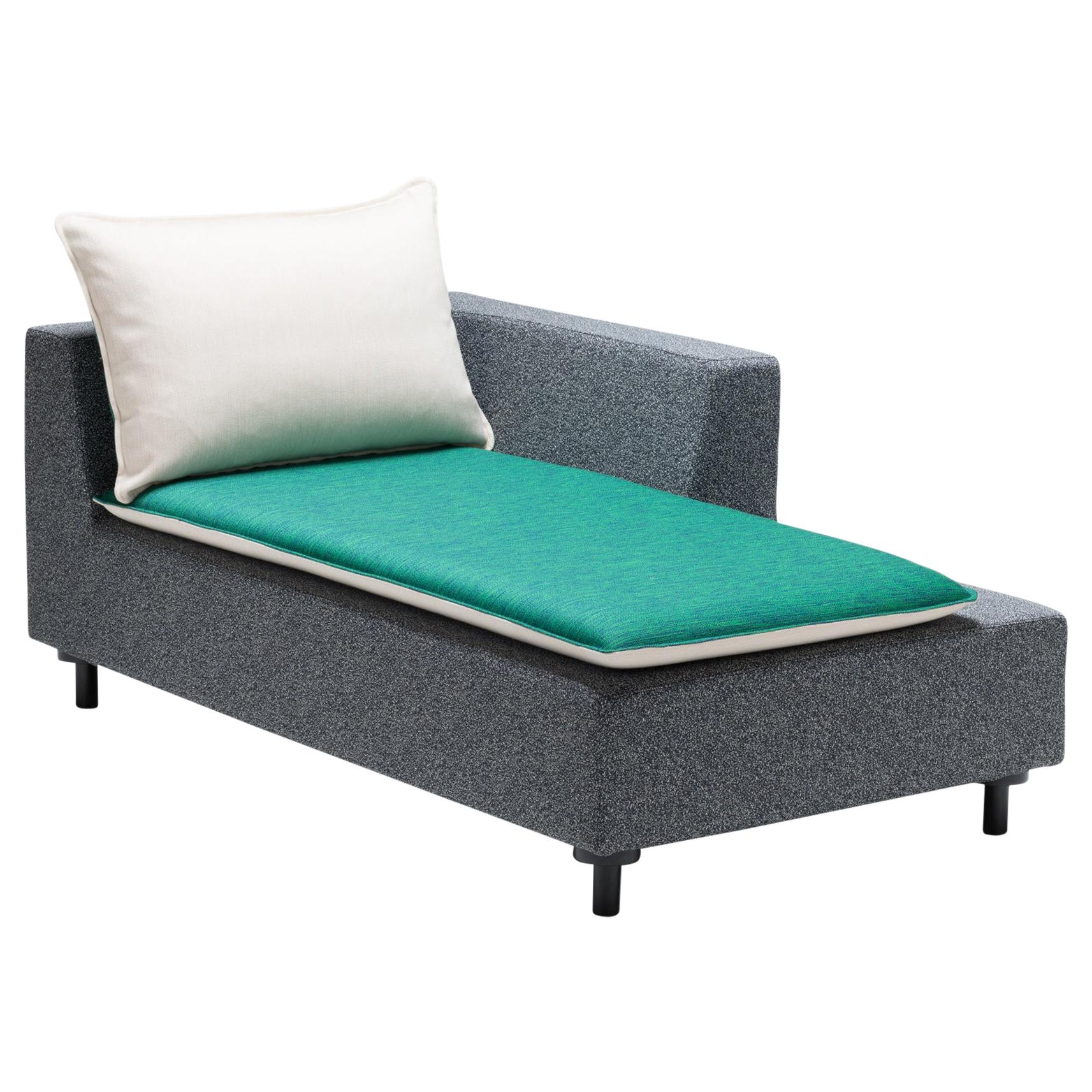 Established & Sons Barbican Chaise in White and Jade by Konstantin Grcic
